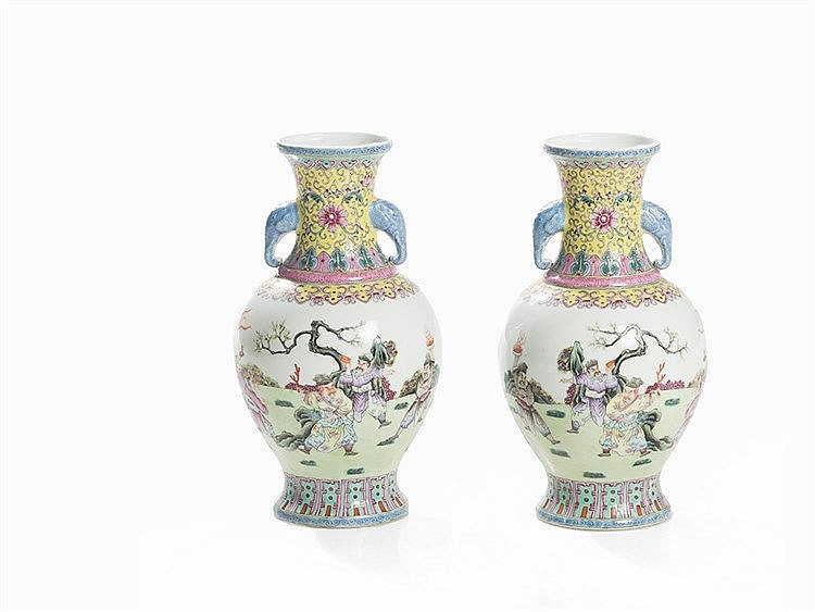 Pair of Baluster Vases with Famille Rose Décor, China, Republic