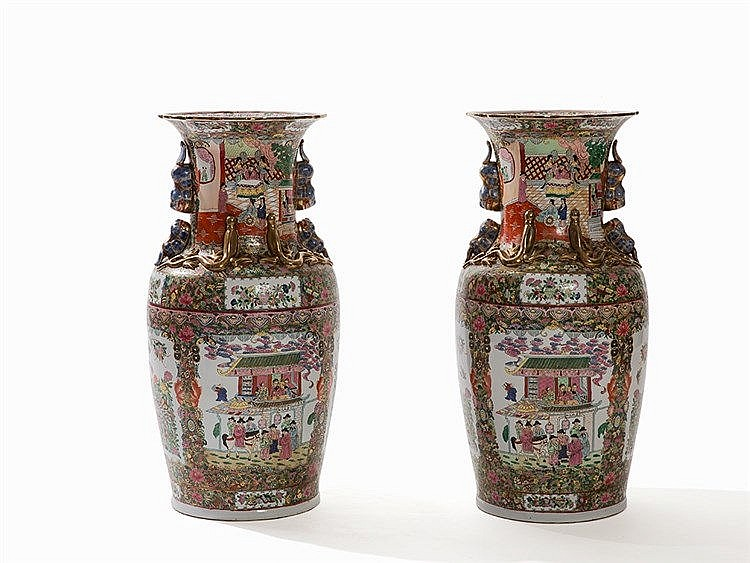 Pair of Tall 'Canton Famille Rose' Baluster Vases, 20th C.