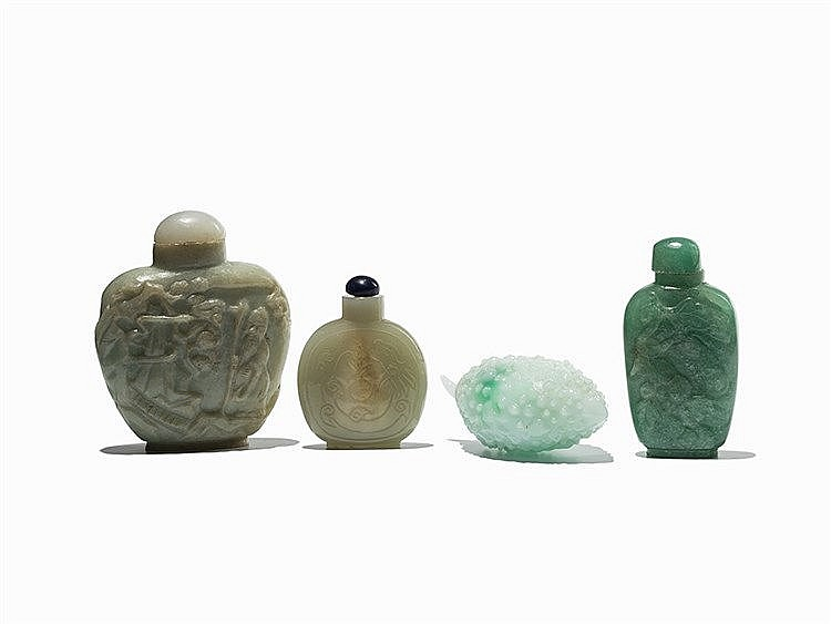 4 Snuff Bottles made of Jade, Quartz and Glass, 20th C.
