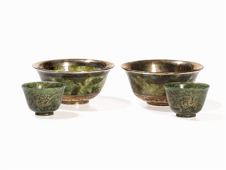 Set of Two Jade Bowls With Small Wine Cups, China, 20th C.