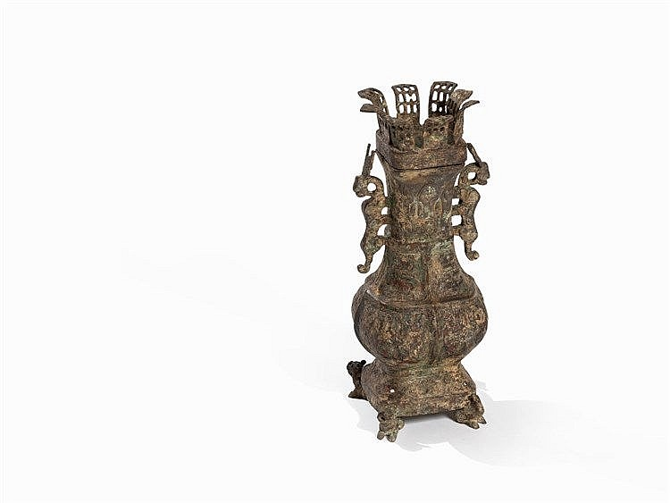 Bronze Vessel HU with Cover, Style of Eastern Zhou Dynasty