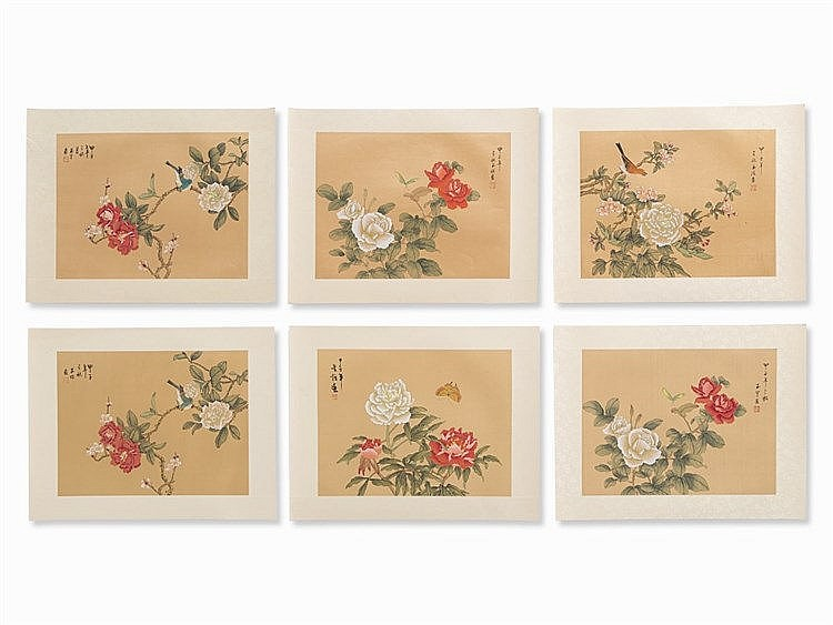 Six Flower-and-Bird Paintings on Silk, China, 20th C.