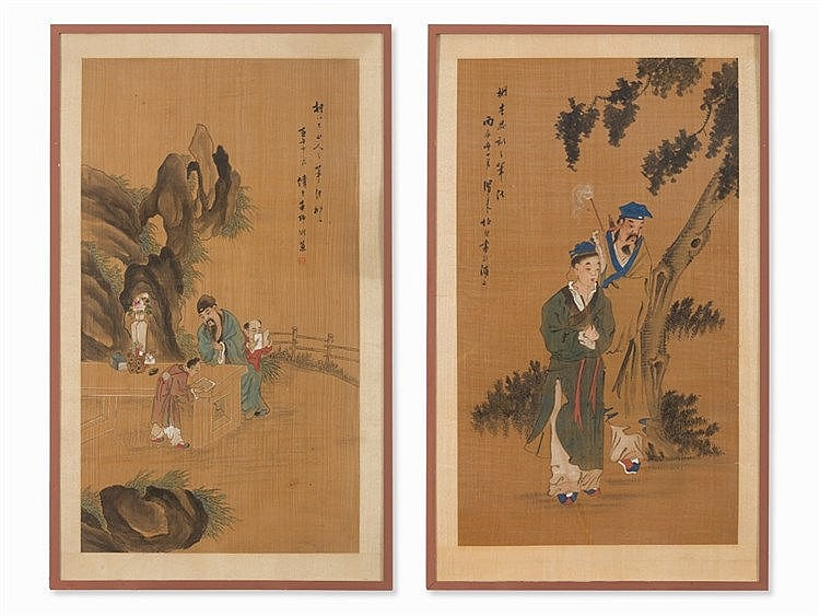 Pair of Silk Paintings, Scholars with Servants, 20th C.