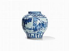 Small Blue and White Vase with Playing Boys, 17th/18th C.