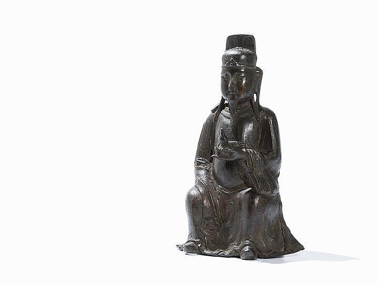 Bronze Figure of a Seated Daoist Deity, Ming Dynasty