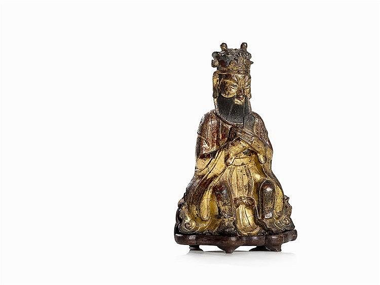Rare Bronze Figure of a Taoist Deity 'Wenchang Dijun', Ming