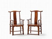Pair of 'Yokeback' Armchairs, Qing Dynasty
