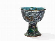 Cloisonné Stem Cup with Gold Fishes and Dragons, China, 17th C.