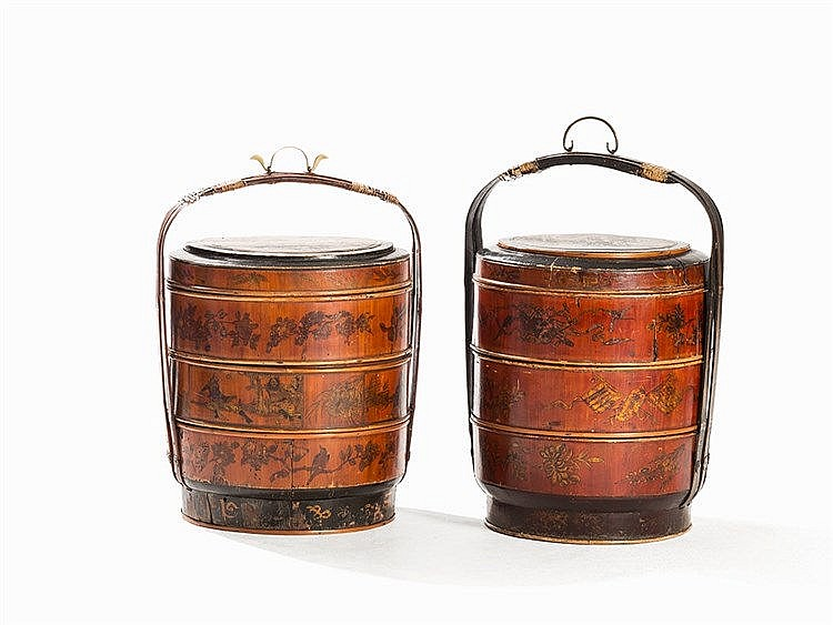 Pair of Bamboo Wedding Basketswith Gold Paint, Early 20th C.