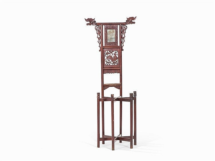 Washbasin Stand with Mirror, Mahogany, China, 1st Q. 20th C.