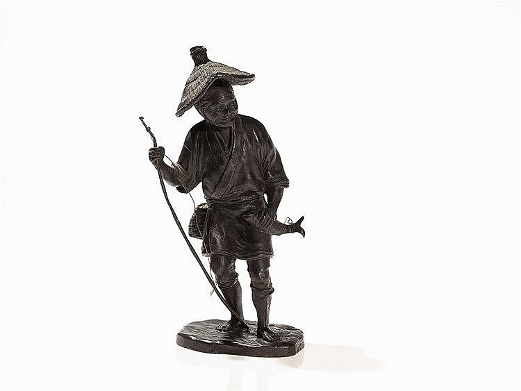 Fisherman with Fishing Rood and Fish, Bronze, China, 20th C.