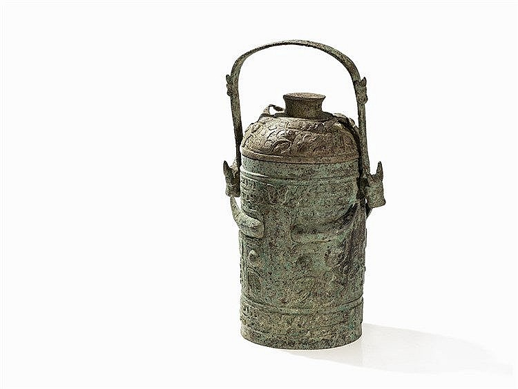 Bronze Wine Container YOU with a Cylindrical Body, Zhou