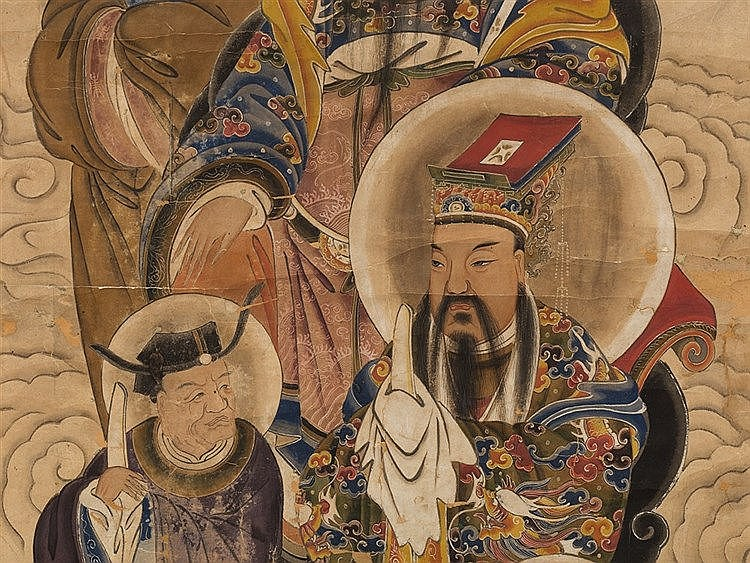 Scroll Painting with Emperors and Consultants, 20th C.