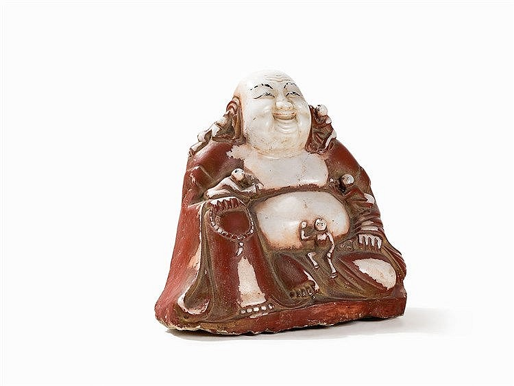 Figure of Budai with Remains of Color, 20th C.