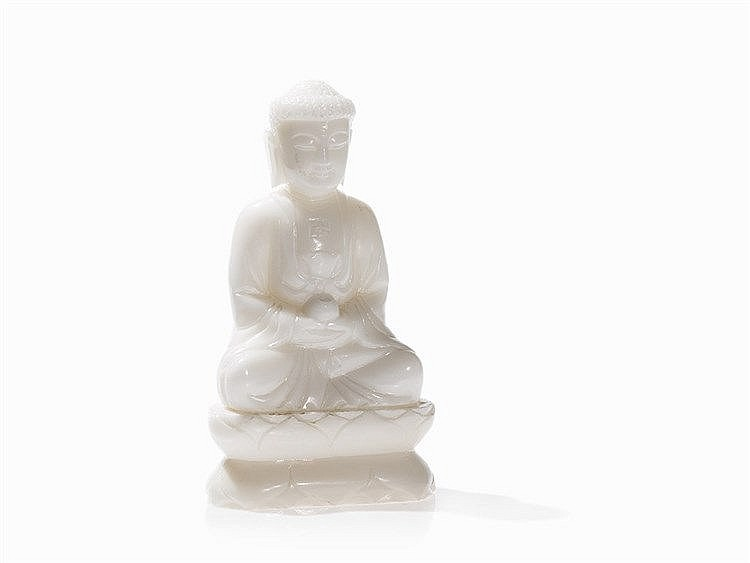 White Quartz Buddha Amitabha with Bowl, China, 20th C.