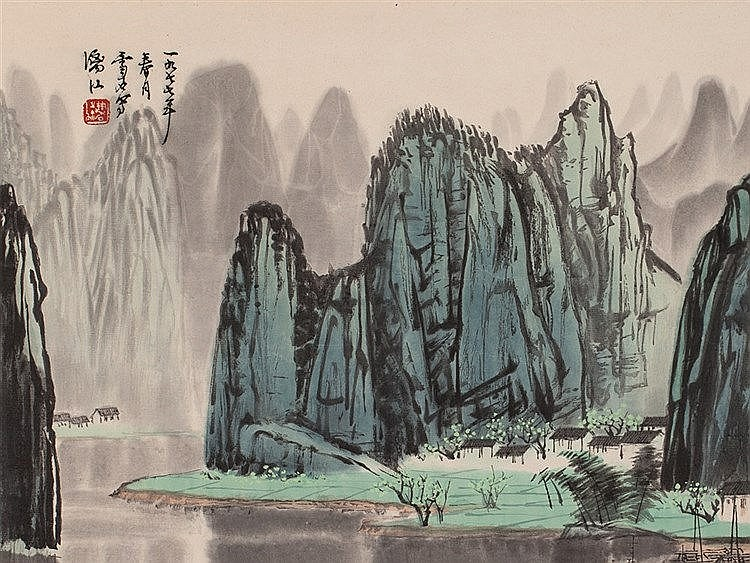 AfterBai Xueshi, Landscape with River, Wood Engraving, 1977