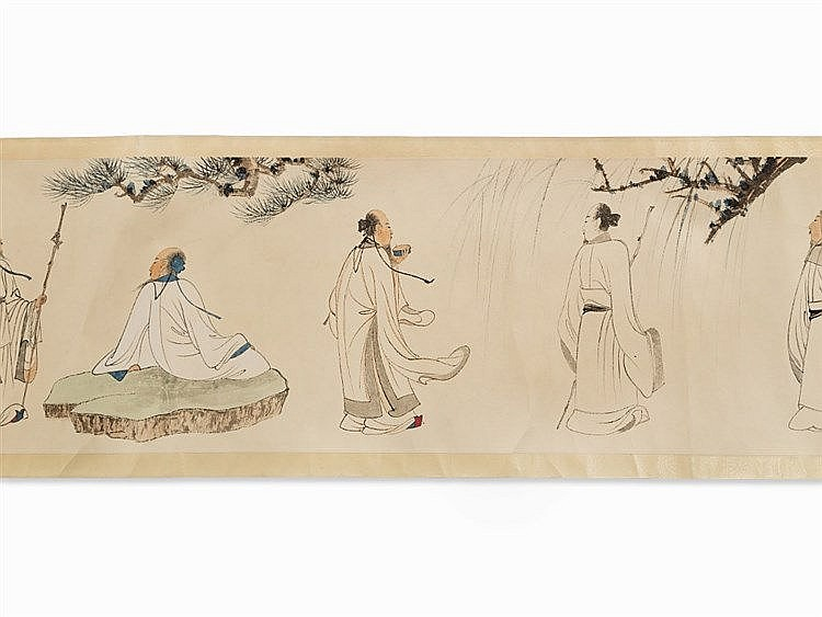 After ZHANG DAQIAN, Handscroll, Print, Scholars, 20th C.