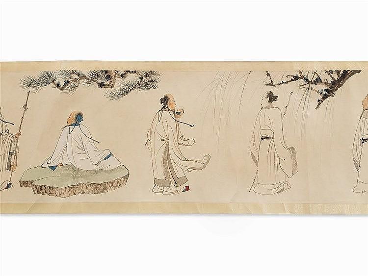 After ZHANG DAQIAN, Handscroll, Print, Scholars, 20th C.