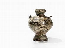 Bronze Vase HU with Metal Inlays and Dragon Handle, Han