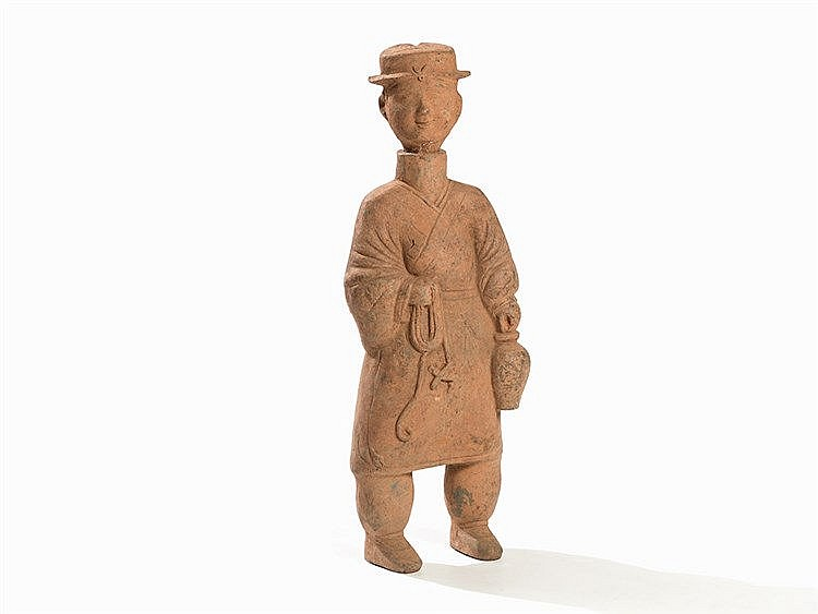 Earthenware Figure of a Standing Fisherman, Traces of Pigments, Han Dynasty