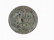 Bronze Mirror with Tendrils and Animal Depictions, Tang Style