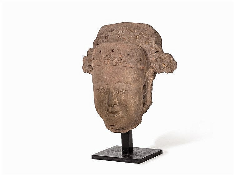 Large Stone Head of a Dignitary with Headdress, Tang/Liao Dyn.
