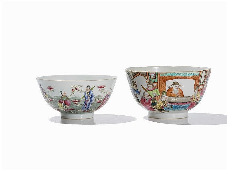 2 Famille Rose Bowls with Warriors and Immortals, Republic