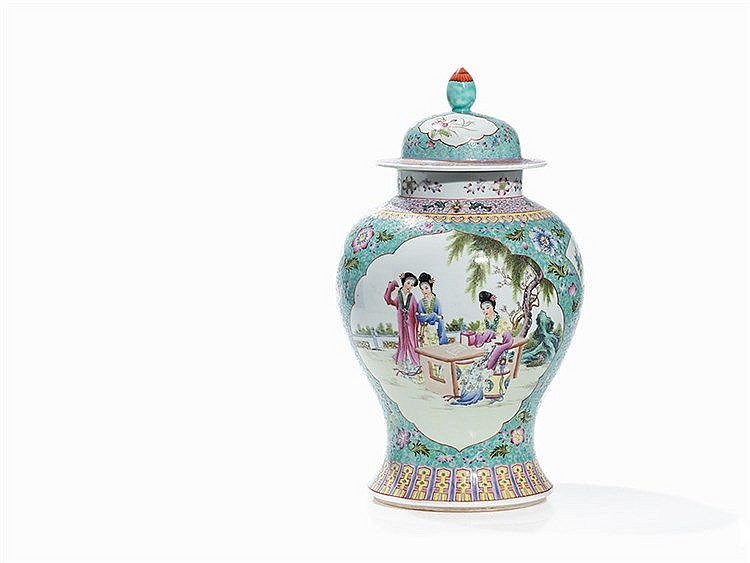Famille Rose Vase with Literary Scenes, China, Republic