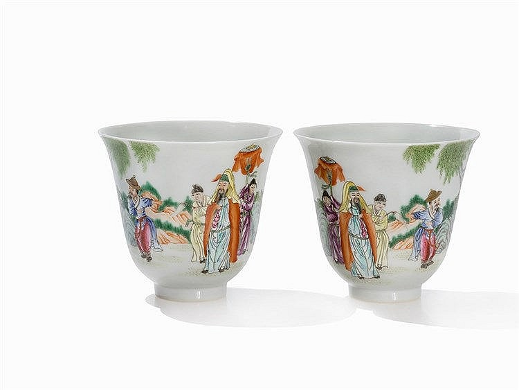 Pair of Famille Rose Wine Cups with Immortals, Republic