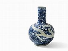 Blue-and-White Long Neck Vase with Dragon, late 19th/20th C.