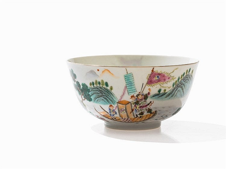 Bowl with Warrior Scene, Qianlong Mark, Republic