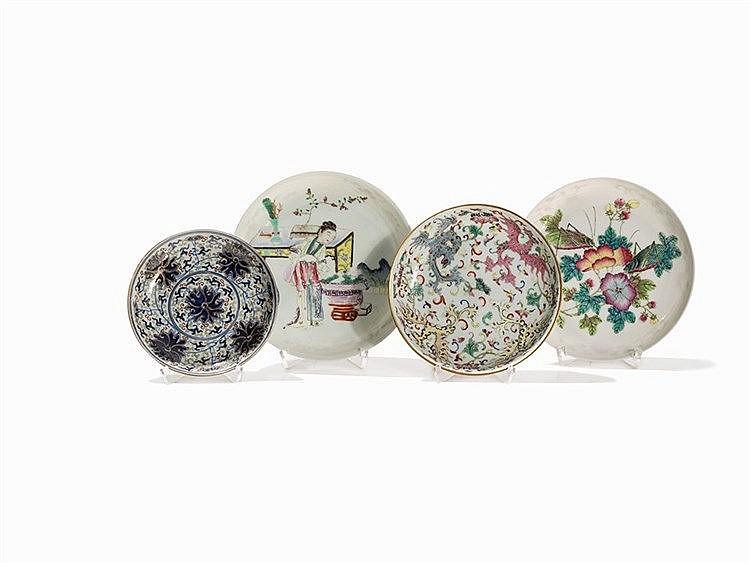 Set of 4 Richly Embellished Saucers, Guangxu or Later