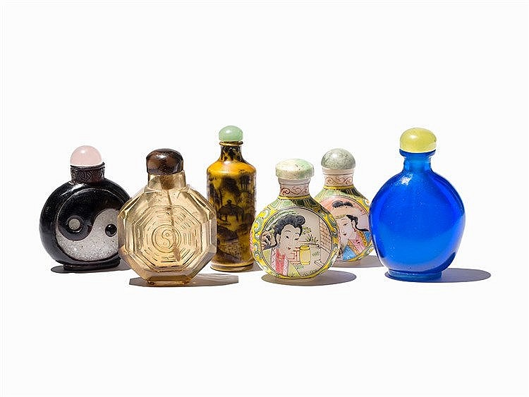 5 Glass and 1 Porcelain Snuff Bottles, Various Shapes, 20th C.
