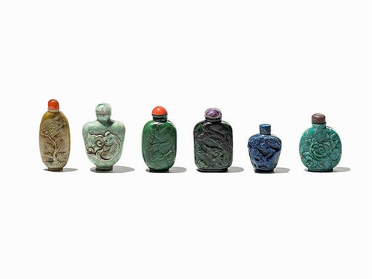 6 Snuff Bottles made of Different Gemstones, 20th C.