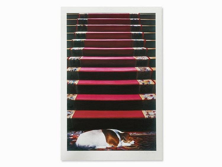 Karin Kneffel, Offset Lithograph, Dozy Dog at the Stairs, 2003