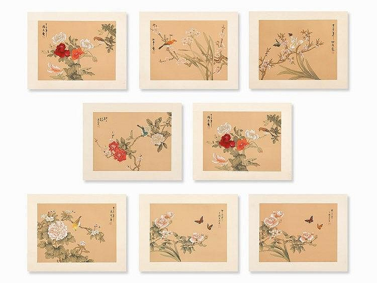 Zhu Cheng Among Others, 8 Floral Painting on Silk, 20th C.