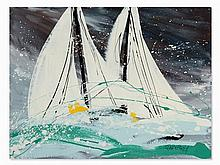 Christian Claerebout, 2 Sailboats, Acrylic, 2nd H. 20th C.