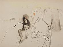 Louis Legrand, Watercolored Aquatint 'L'Aieule', 1904