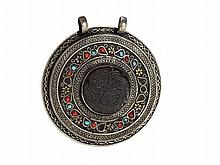 Round Amulet Pendant Made of Silver, Oman, 19th Century