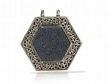 Hexagonal Amulet Pendant Made of Silver, Oman, 20th Century
