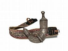 Magnificient Khandschar Dagger with Belt, Oman, 19th Century