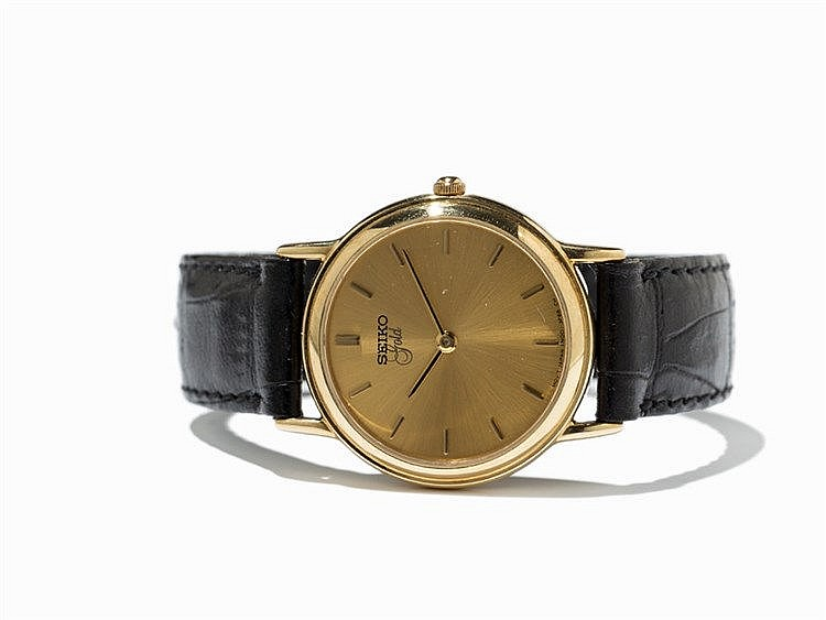 Seiko Gold Dress Wristwatch, 18K Gold-Plating, Japan, 1980s