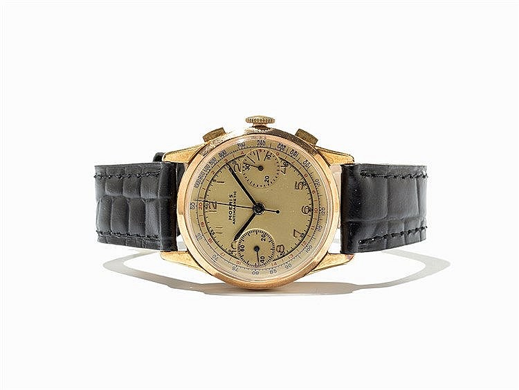 Moeris Gold Vintage Chronograph, Switzerland, c. 1940