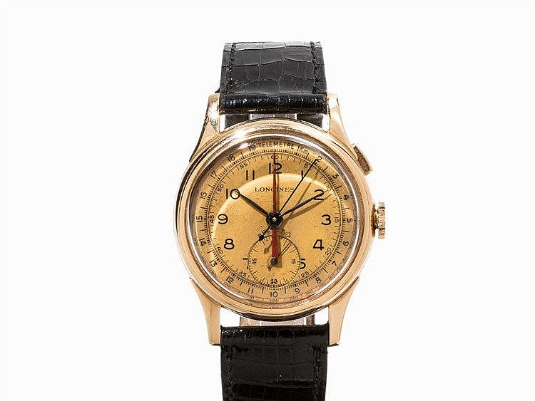 Longines Gold Single Button Chronograph, C. 1945