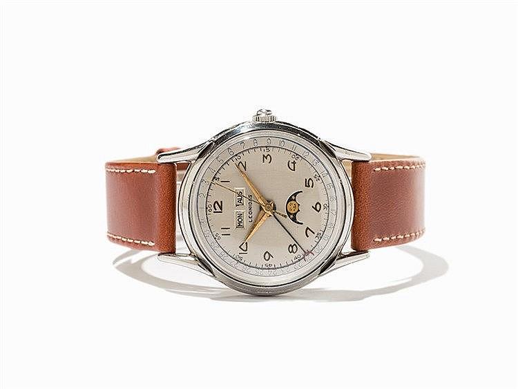 Leonidas Full Calendar Wristwatch, Switzerland, Around 1948