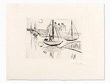 Max Pechstein (1881-1955), Dry Point Etching, 'Moonlight', 1922