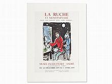 Marc Chagall, Color Lithograph 'La Ruche et Montparnasse', 1978