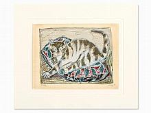 Otto Dix, Color Lithograph, 'Cat', Germany, 1959