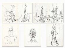 Giacometti, 5 Lithographs, Derriere le Miroir, 1960/61