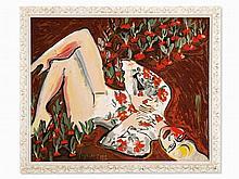 Elvira Bach (b. 1951), Terragraph, Woman in Radish Field, 2001